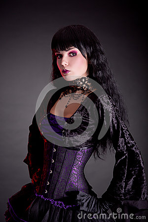 Free Portrait Of Attractive Gothic Girl In Elegant Medieval Costume Stock Photo - 34389410