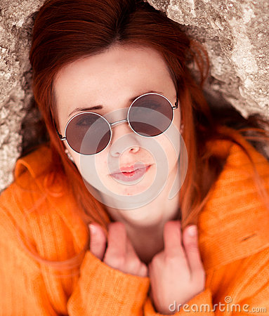 Free Portrait Of Beautiful, Attractive Red-haired, Girl With Modern Round Sunglasses Royalty Free Stock Image - 65599786