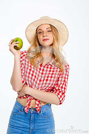 Free Portrait Of Beautiful Country Girl With Apple Over White Background. Stock Photography - 89812752