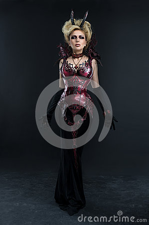 Free Portrait Of Beautiful Devil Woman In Dark Sexy Dress Royalty Free Stock Photography - 59678017