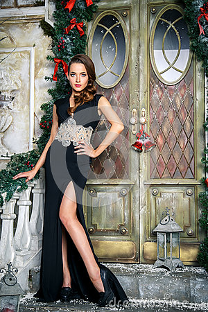 Free Portrait Of Beautiful Elegant Young Woman In Gorgeous Evening Dress Over Christmas Background Stock Photography - 70546222