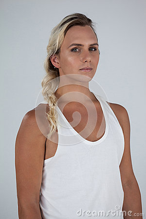 Free Portrait Of Beautiful Transgender With Braided Hair Stock Images - 90462894