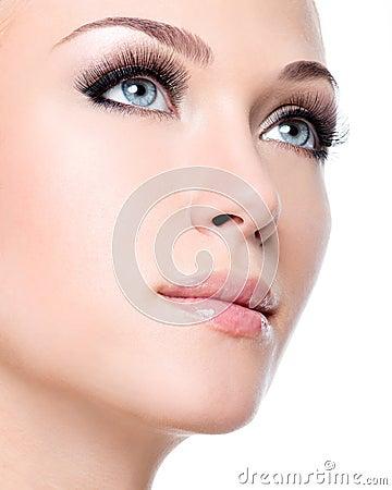 Free Portrait Of Beautiful White Woman With Long False Eyelashes Stock Photo - 31713310