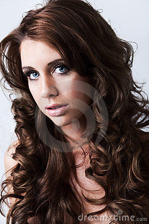 Free Portrait Of Beautiful Woman With Long Curly Hair Stock Photo - 9138560