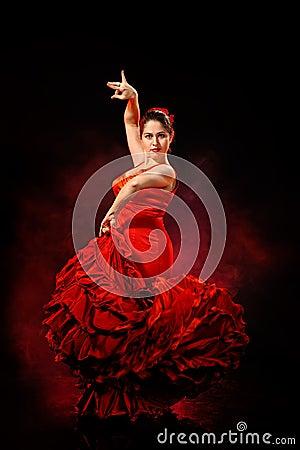 Free Portrait Of  Beautiful Young Woman Dancing Flamenco Stock Photos - 28334813