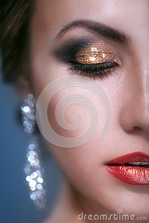 Free Portrait Of Beauty Young Woman With Shine Makeup Stock Photo - 35887700