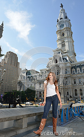 Free Portrait Of Beuatiful Young Woman With Red Hair In White Shirt And Denim Royalty Free Stock Photography - 56917237