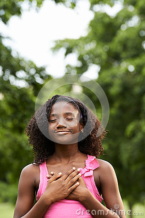Free Portrait Of Black Girl In Love Daydreaming And Smiling Stock Photos - 42012053