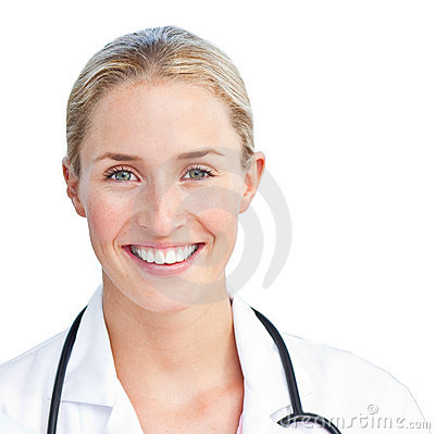 Free Portrait Of Blond Doctor Holding A Stethoscope Stock Photo - 12867980
