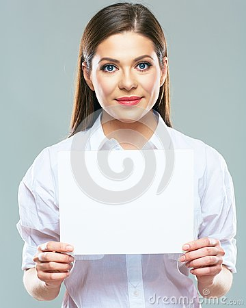 Free Portrait Of Business Woman Holding Sign Board. Stock Photography - 112575062