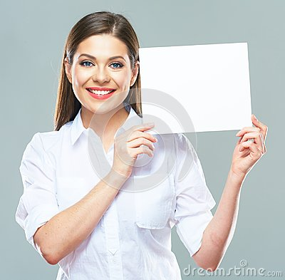 Free Portrait Of Business Woman Holding Up Sign Board. Stock Photos - 112578673