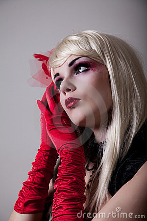 Free Portrait Of Cabaret Woman With Red Glitter Makeup Stock Photography - 23606872