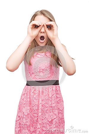 Free Portrait Of Caucasian Teenage Girl Immitating Binocular Using Ha Stock Photo - 36161860