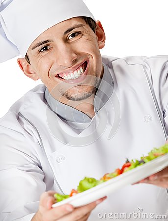 Free Portrait Of Chef Cook Offering Salad Dish Royalty Free Stock Images - 30457529