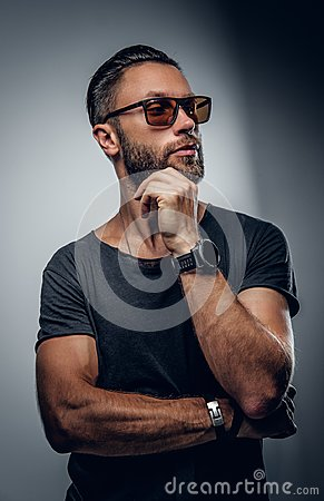 Free Portrait Of Fashionable Male In Sunglasses. Stock Photo - 110049520