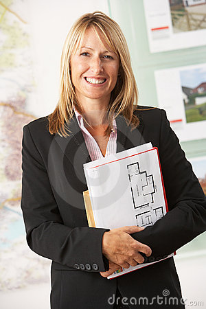 Free Portrait Of Female Estate Agent In Office Royalty Free Stock Images - 16052909