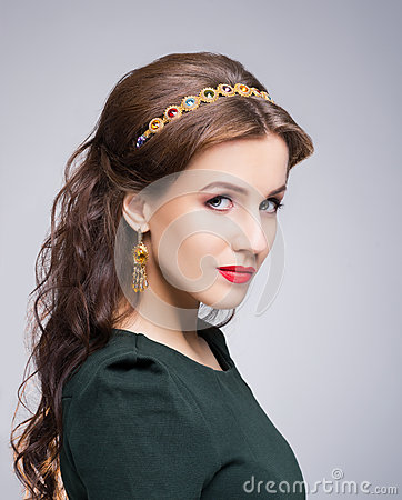 Free Portrait Of Gorgeous Brunette Wearing Luxury Golden Coronet And Earrings Royalty Free Stock Photography - 64887057