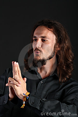 Free Portrait Of Guy Making Finger Gun On Black Backgro Royalty Free Stock Images - 10190569