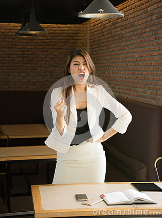 Free Portrait Of Happy Business Woman In Coffee Shop,Having Enjoyed A Really Impressive Success,victory Dance, Rewarded, Won A Good Con Stock Images - 95086854