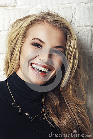 Free Portrait Of Happy Cheerful Smiling Young Beautiful Blond Woman Stock Photo - 48769070