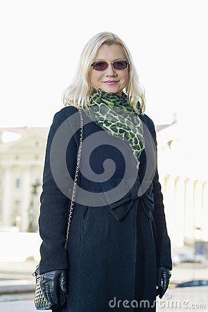 Free Portrait Of Happy Mid-aged Blond Woman Outdoors Royalty Free Stock Photos - 55700518