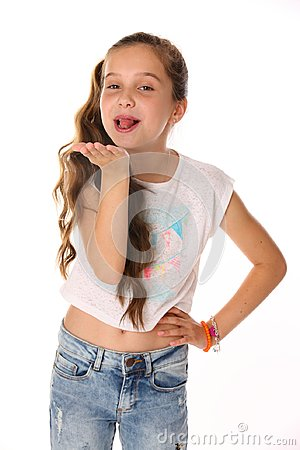 Free Portrait Of Happy Teenage Girl In Blue Jeans With A Bare Belly Stock Photography - 112284562