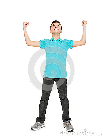 Free Portrait Of  Laughing Happy Teen Boy With Raised Hands Up Stock Photo - 59915370