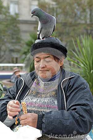 Free Portrait Of Old Woman With Dove On Her Head Stock Image - 46422611