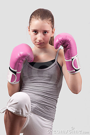 Free Portrait Of Pretty Kick Boxing Girl Stock Images - 22338964