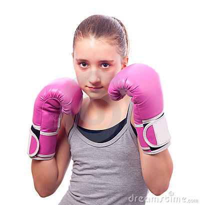 Free Portrait Of Pretty Kick Boxing Girl Stock Images - 22353184