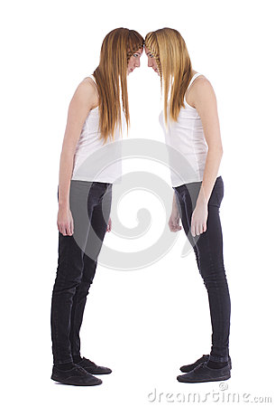 Free Portrait Of The Angry Young Twins Sisters Royalty Free Stock Photo - 33004615