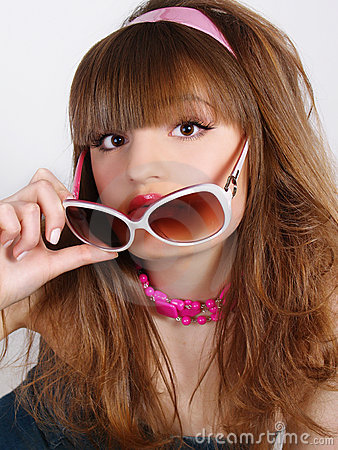 Free Portrait Of The Beautiful Girl With Solar Glasses Royalty Free Stock Photo - 13758015