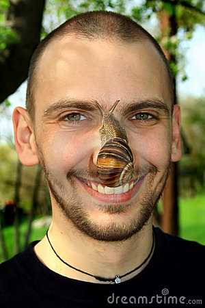 Free Portrait Of The Man With A Snail Stock Images - 5149464