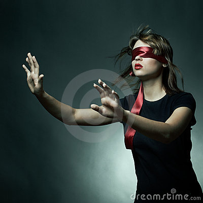 Free Portrait Of The Young Woman Blindfold Royalty Free Stock Photos - 16689678