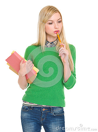 Free Portrait Of Thoughtful Student Girl With Books Royalty Free Stock Photos - 29541018