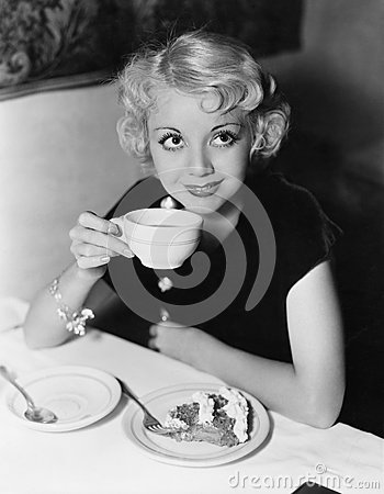 Free Portrait Of Woman Having Pie And Coffee Royalty Free Stock Image - 52000636
