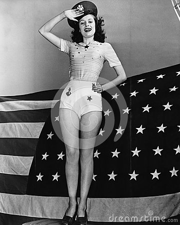Free Portrait Of Woman Saluting With American Flag Royalty Free Stock Photography - 52010847