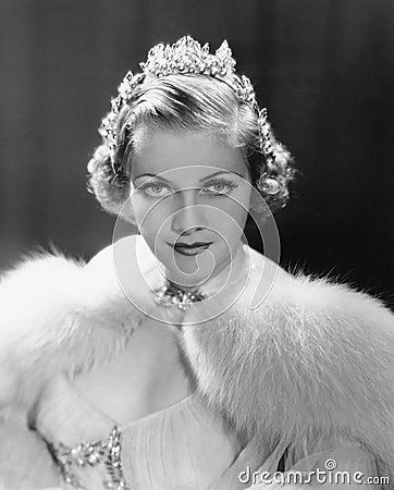Free Portrait Of Woman Wearing Tiara Stock Images - 51999964