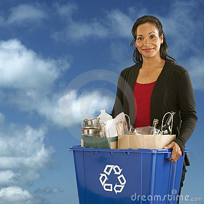 Free Portrait Of Woman With Recycling Bin Stock Image - 9528751