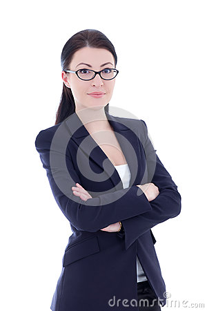 Free Portrait Of Young Attractive Business Woman Isolated On White Stock Photography - 37652362