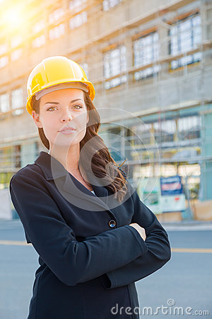 Free Portrait Of Young Attractive Professional Female Contractor Wear Stock Image - 87738471