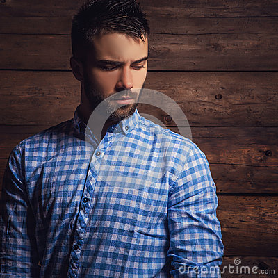 Free Portrait Of Young Beautiful Fashionable Man Against Wooden Wall. Stock Image - 53235081