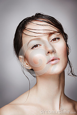 Free Portrait Of Young Beautiful Nude Woman With Wet Shining  Makeup On Grey Background Royalty Free Stock Photos - 69486828