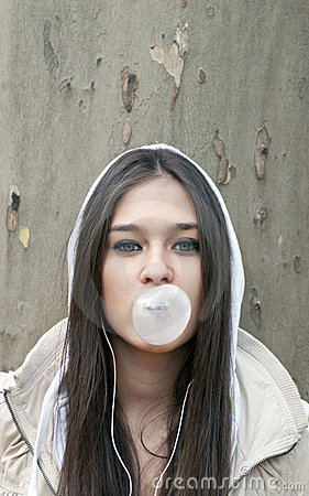 Free Portrait Of Young Girl Blowing Bubble Gum Royalty Free Stock Image - 22237456