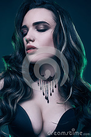 Free Portrait Of Young Sexy Gothic Girl With Long Hair Royalty Free Stock Photos - 85098108