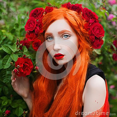Free Portrait Of Young Unusual Pale Girl With Red Hair In Rose Garden. Stock Image - 119286961