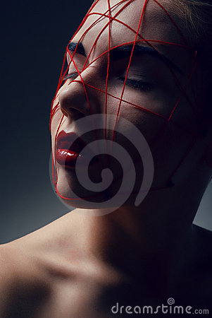 Free Portrait Of Young Woman With Red Web On Face Royalty Free Stock Photos - 16500368