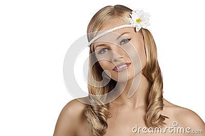 Portrait of old fashion shot of blond