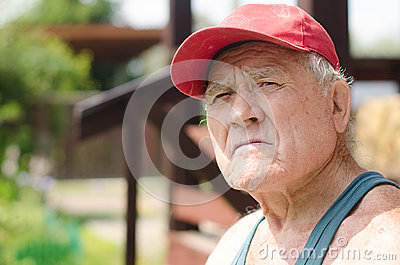 Portrait Of An Old Man In A Red Baseball Cap Royalty Free ...