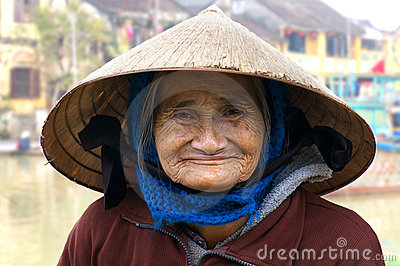 The portrait of the old woman. Hoi An Editorial Photo